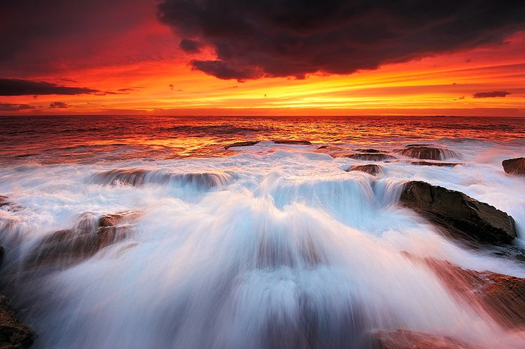 Fiery Sunrise over Coogee Beach, Sydney, Australia