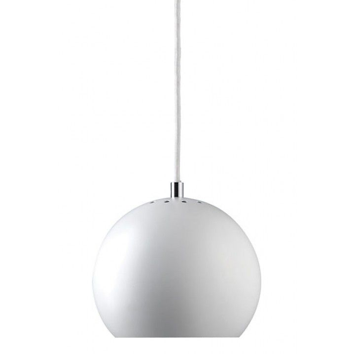 The Iconic Ball Pendant lamp by Frandsen Lighting Denmark, was originally designed by the founder Benny Frandsen in 1969 and has since been relaunched in many colours including Chrome and Copper.     Material: Metal   Size: Ball: Ø18 cm diameter   Cord: White fabric cord, 200 cm  Recommended Light source:  E27 max. 40W. Bulb not included.   Designed in 1969 by Benny Frandsen.
