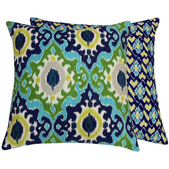 Turquoise Throw Pillow Cover 20x20 Decorative Double Sided in Blue Green Aqua, Crown Jewel ...