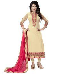 Buy Beige embroidered georgette semi stitched salwar with dupatta salwars-and-churidar online