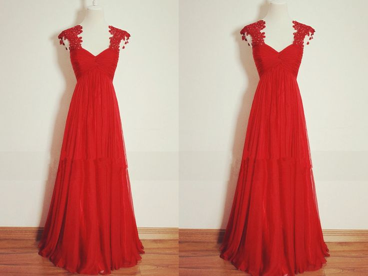 Beautiful Red Sweetheart Prom Dress,Chiffon Floor Length Party