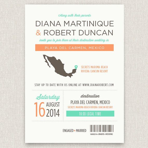 Locale - Modern destination wedding invitation with map via Etsy