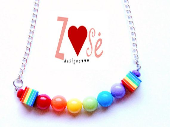 Girls rainbow necklace. Size Large. by ZoseDesigns on Etsy, $14.00