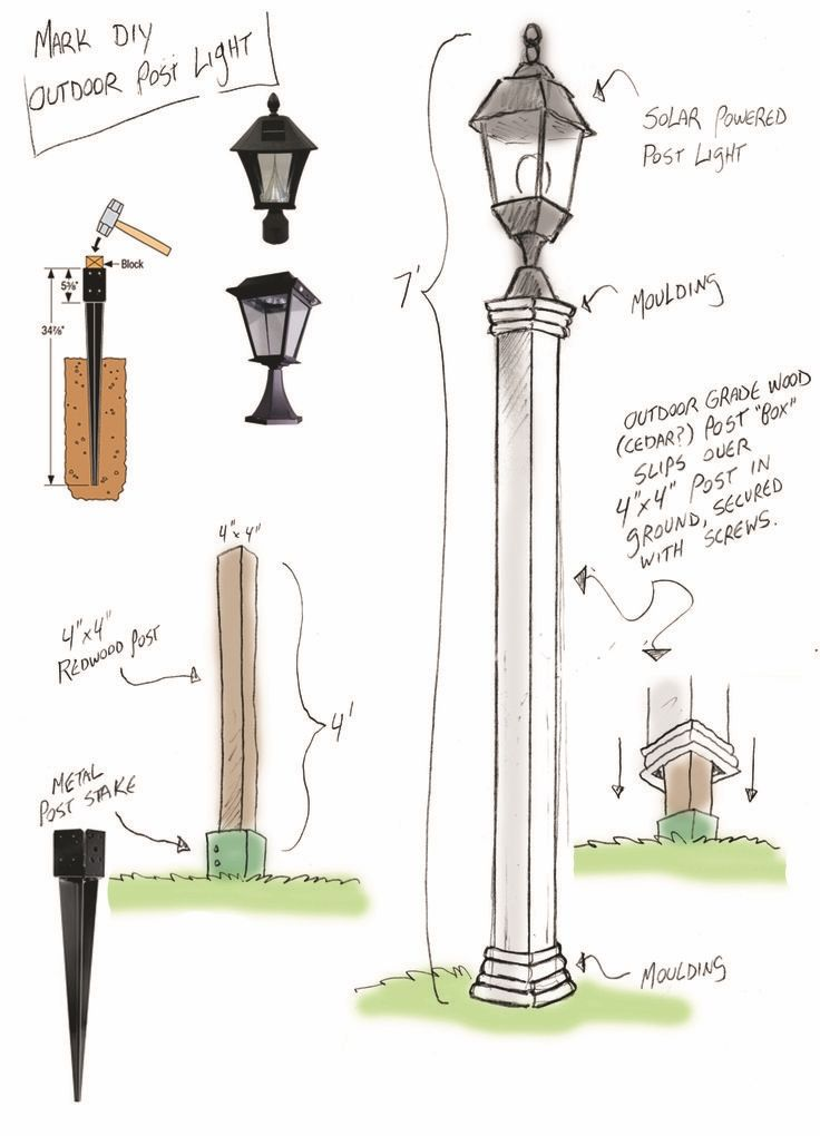 Outdoor Solar Lamppost Diy Home Family Diy Outdoor Lighting Solar Lights Diy Front Yards Diy
