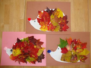 Hedgehog & Fall leaves art project.  Great tie in to Apple Trouble!  Book