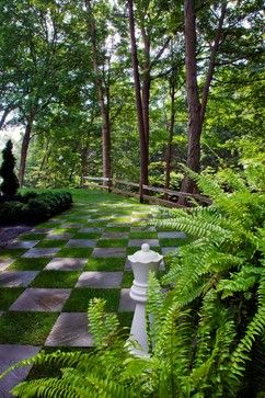 Chess Master's Bluff. The alternating pattern of stone and grass creates a whimsical representation of a chessboard. The lines appear to converge in the distance offering adventure and reward to those that follow the fanciful footpath.