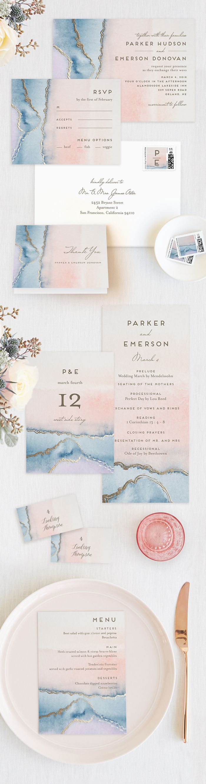 Geode gorgeousness. Go dreamy with a pastel perfect Agate on your wedding day, like this Simple Agate wedding invitation design by Minted artists Petra Kern.