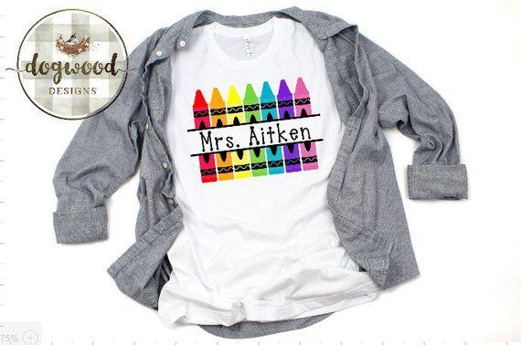9d2660a5c5324 Personalized Crayon Teacher Shirt | Dogwood Designs | Teacher shirts ...