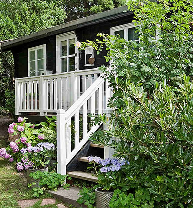 cottage...love the dark with white trim and greenery