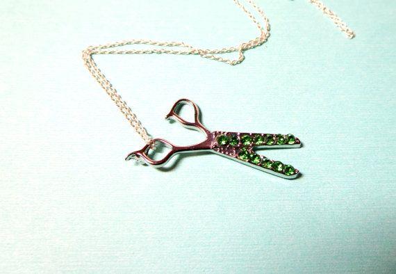 Tiny scissor necklace-  green gold scissor   Necklace - Seamstress Hairstylist Jewelry, $16.99