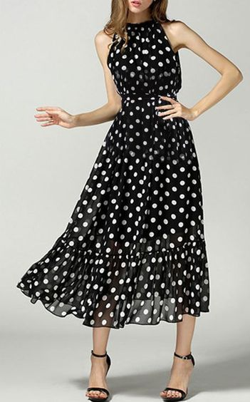 Polka Dot Chiffon Dress - Trending Fashion ==