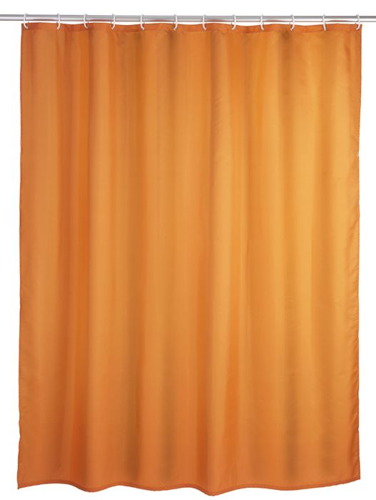 Der klassische Duschvorhang in orange ist aus 100% Polyester und mit einem sensationellen Anti-Schimmel-Effekt ausgestattet, sowie antibakteriell beschichtet. Der Duschvorhang ist besonders haltbar und pflegeleicht. Für € 24,99 bei kloundco.de.