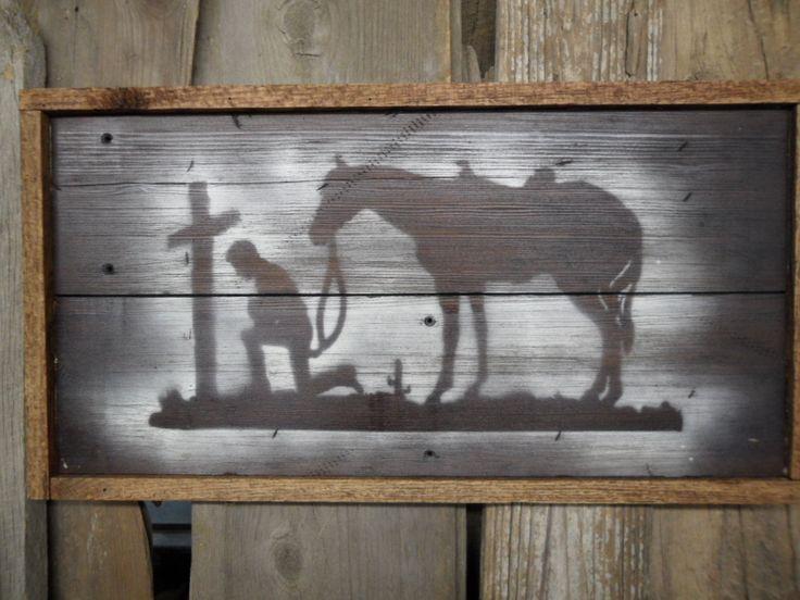 Praying Cowboy, Cowboy art, Cowboy sign, Western art, Old west sign, Cowboy stencil, Cabin sign. $45.00, via Etsy.