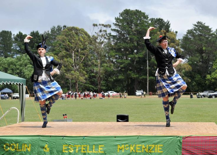 The 63rd Daylesford Highland Gathering. Kelsey Weedon and Indigo McKinnon compete in the 14 - 16 age group dancing competition. Picture: JULIE HOUGH