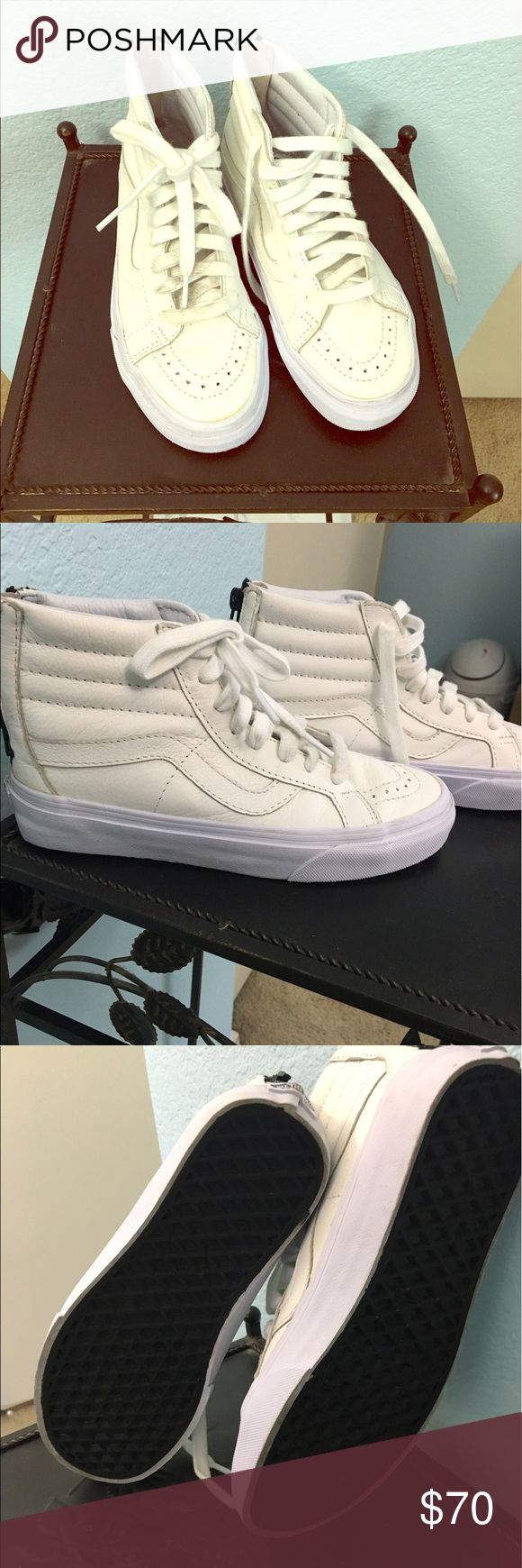 White Leather Vans High tops, white leather, with zipper in the back.  Super comfy shoes, only worn 3 times. Excellent condition Vans Shoes
