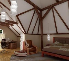 Просторная спальня в мансардном помещении