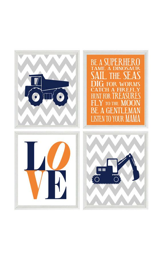 Construction Nursery Art - Baby Boy Wall Art, Chevron Print, Gray Navy Blue Orange Nursery,  Boy Rules Sign, LOVE , Toddler Big Boy Room by RizzleandRugee on Etsy https://www.etsy.com/listing/183634592/construction-nursery-art-baby-boy-wall
