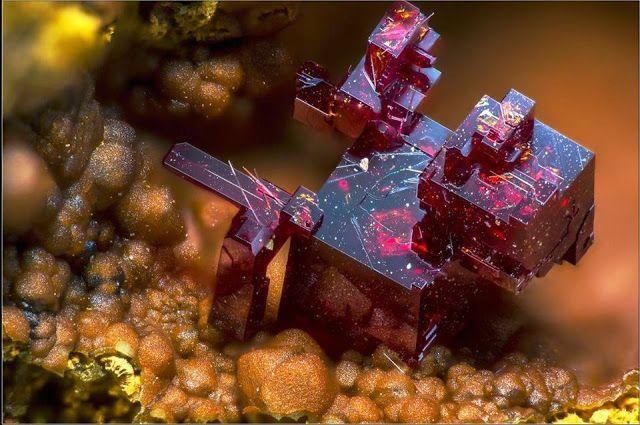 Stunning Cuprite   Colour:Dark red to cochineal ...  Lustre:Adamantine, Sub-Metallic, Earthy Hardness:3½ - 4  From Villecun, Olmet-et-Villecun, Hérault, Occitanie, France