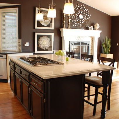 Brown walls and bright accents make for a warm and inviting home. #color