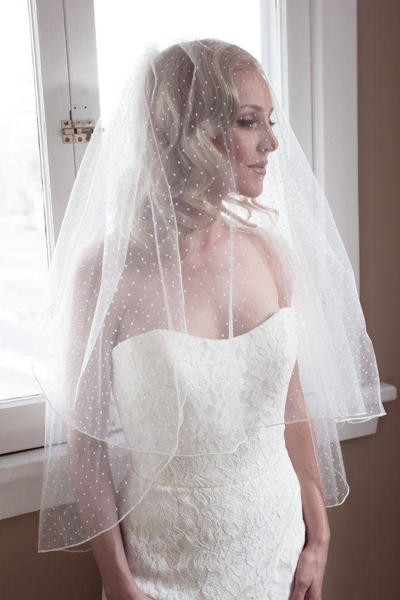 Polka Dot Illusion Tulle Wedding Veil with Pencil by veiledbeauty