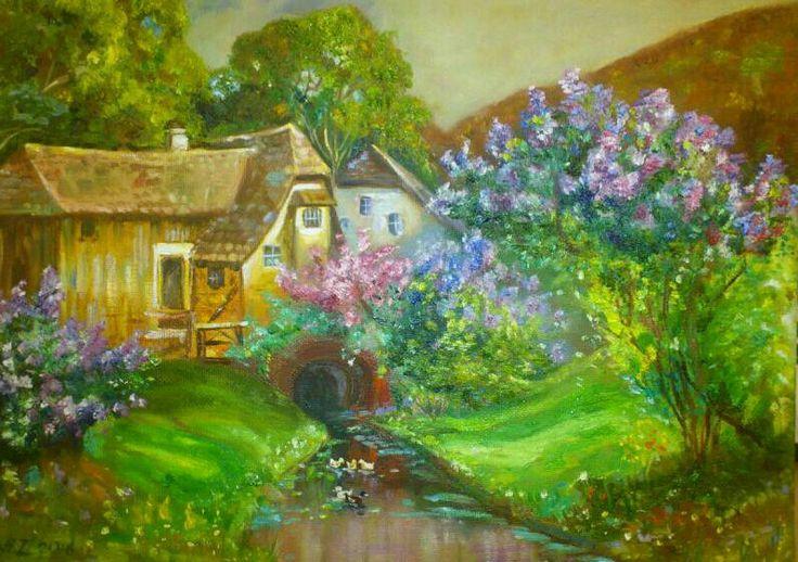 Домик в сирени Sweet home in lilac.  Alois Arnegger, free copy Oil painting Вольная копия пейзажа Алоиса Арнеггера. Масло/холст