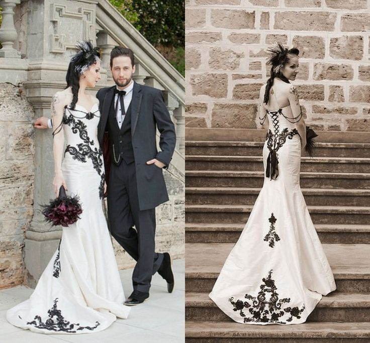 Blanco Y Negro Encaje Vestido De Boda Góticos 2016 Vestidos De a con vestidos de novia goticos - Vestido de novia de la foto