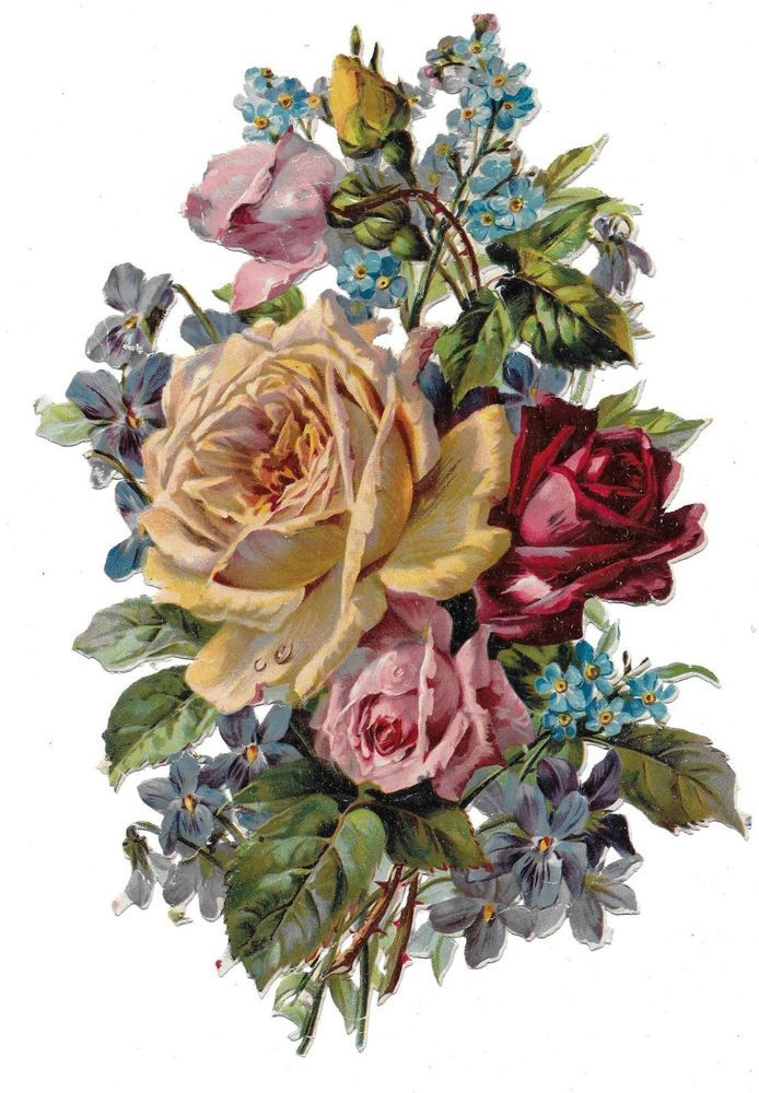 Victorian Die Cut Scrap Bouquet of Roses, Forgetmenots, and Violets: