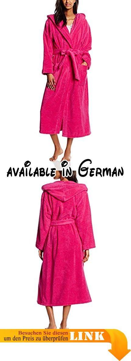 Féraud Damen Bademantel 3661728, Einfarbig, Gr. 46 (Herstellergröße: L), Rosa (Pink 10012). Langer Frottee-Mantel. Länge: 125 cm. mit Kapuze. angenehm weiches und flauschiges Softfrottee. zwei aufgesetzte Taschen. 40 °C Schonwäsche, Feinwaschmittel verwenden^Bindegürtel zum Abnehmen. aufgesticktes Féraud-Logo auf rechter Tasche #Apparel #SLEEPWEAR