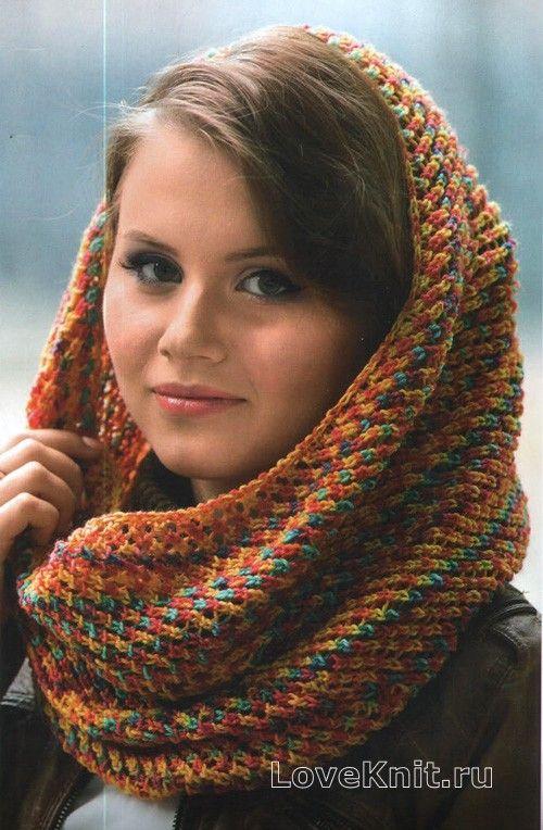 Схема спицами цветной шарф-хомут