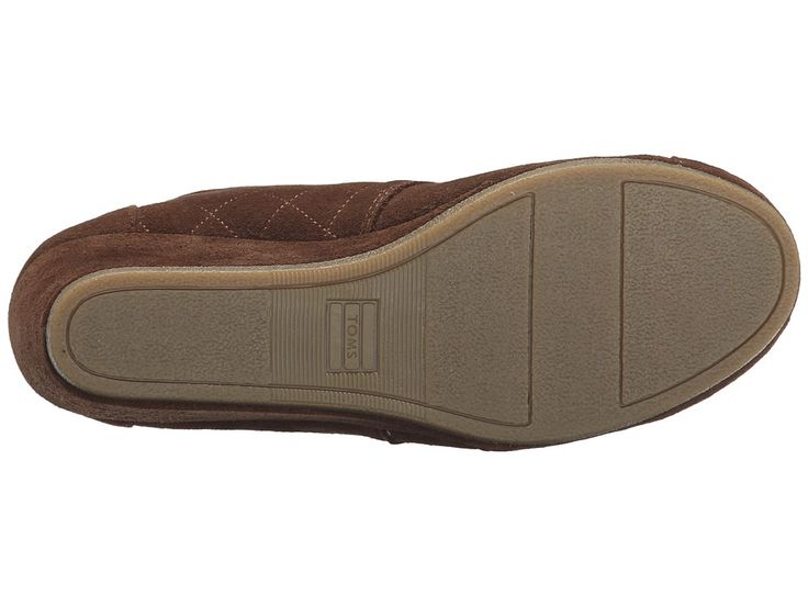 TOMS Desert Wedge Women's Wedge Shoes Chocolate Brown Suede w/Shearling