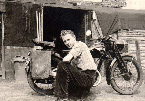 vintage man motorcycle