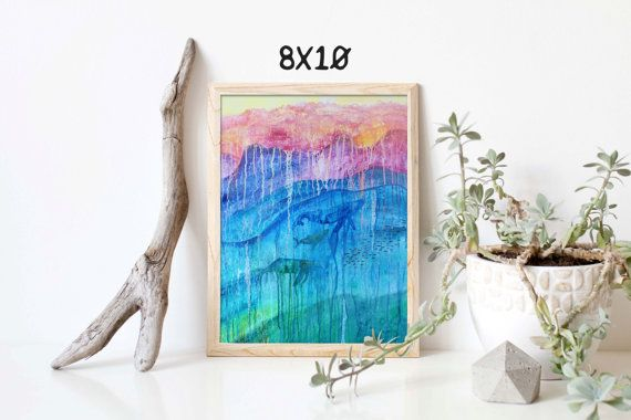 Abstract whale painting Abstract ocean by BlueDoorArtStudio Abstract whale painting, Abstract ocean Painting, Whale Painting, Blue Ocean,Drip Painting, Abstract Ocean, 8x10, 9x12, 11x14, 12x16, 19x13