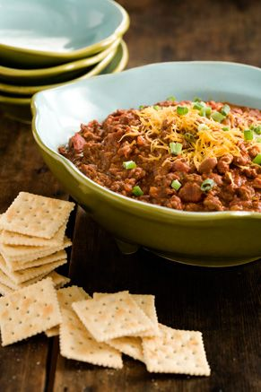 This is one of our favorite chili's - I do adjust the seasonings a bit more to our taste but we love the beans, beef, sausage, and large veggies - Paula Deen Jamie's Chili