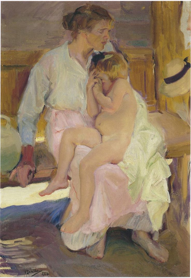 Mother and daughter, Valencia beach - Joaquín Sorolla