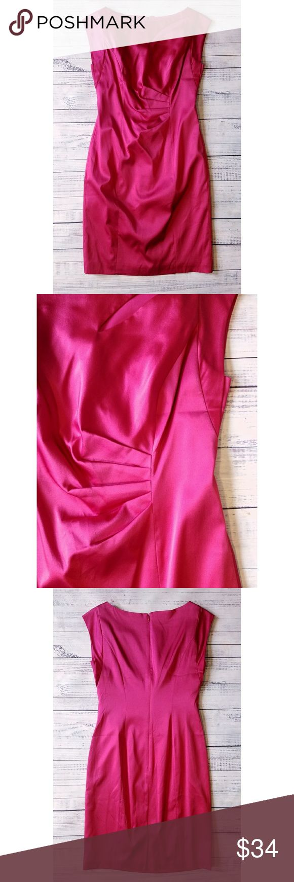 Kay Unger Silk Pink Gathered Cocktail Dress Kay Unger Pink Gathered Cocktail Dress  Lightly worn Zipper in back Silk, 5% polyester 18 inches from armpit to armpit 36.5 inches long Kay Unger Dresses