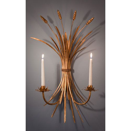Antique Gold Wheat Candle Sconce, Set Of Two