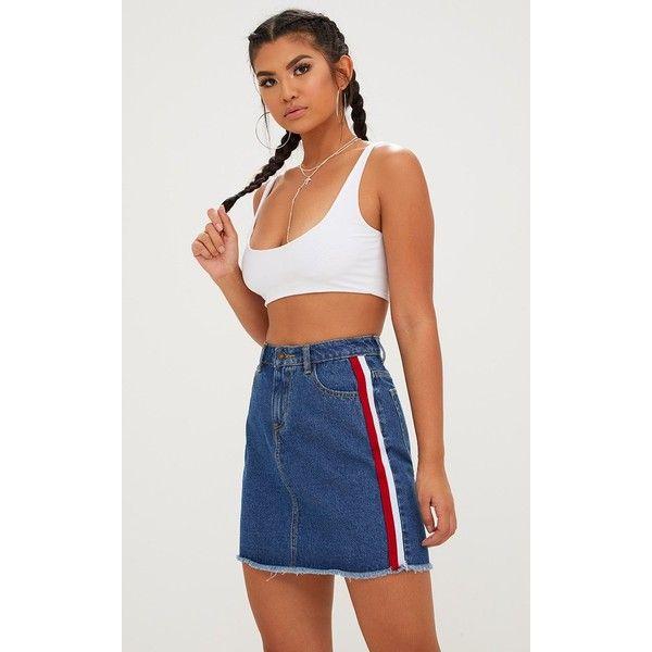 Dark Wash Sports Stripe Denim Skirt ($28) ❤ liked on Polyvore featuring skirts, dark blue wash, striped skirt, denim skirt, sport skirts, sports skirts and stripe skirt