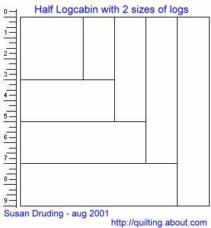 Half Log Cabin quilt blocks in 2 styles - free quilt pattern