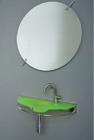 Rapsel Handwater glass basin has a width of 60cm, overall depth 39cm, and is hung 85cm from the floor