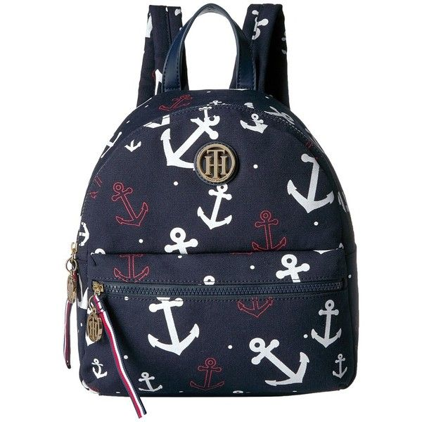 Tommy Hilfiger Tommy Falling Anchor Backpack (Navy) Backpack Bags ($98) ❤ liked on Polyvore featuring bags, backpacks, faux-leather backpacks, navy blue backpack, zipper bag, day pack backpack and shoulder strap backpack