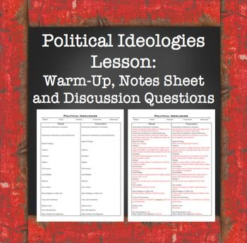 Political Ideologies Lesson: Warm-Up, Notes Sheet, and Discussion Questions. Great way to discuss different ideologies with your students!