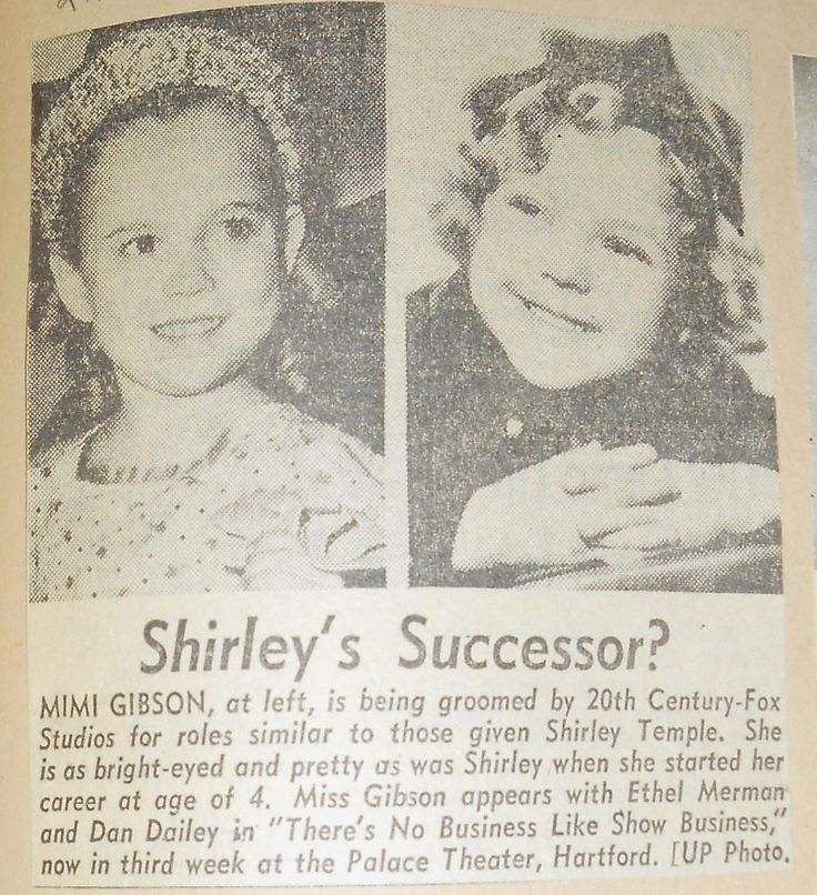 1954 Shirley's Successor? Mimi Gibson  being compared to Shirley Temple