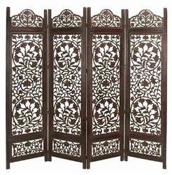 Malibu Wood Room Divider 4 Panel Carved  Screen.