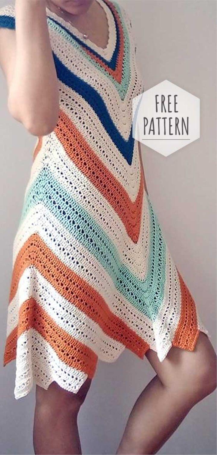 Crochet Colorful Summer Dress Crochet Dress Pattern Free Knit Dress Pattern Crochet Clothes [ 1510 x 720 Pixel ]