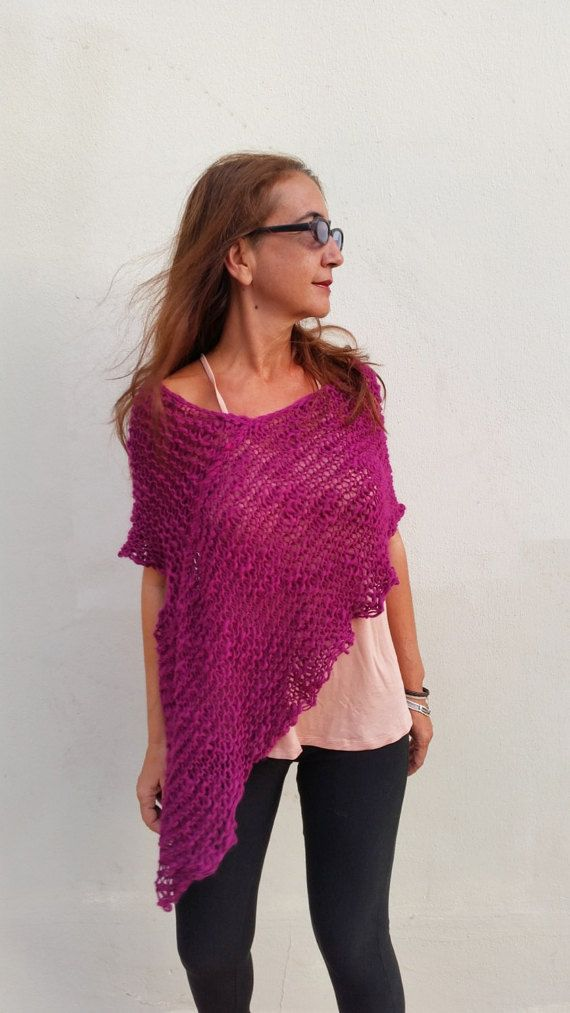 Purple poncho wrap, poncho sweater, purple wool poncho   I love purple, poncho, wrap, scarf, what ever ,its a powerful and sexy color. You can wear this poncho roll up in your neck or under your coat and when you take it off you will look superb and beautiful. You will not pass unnoticed.  Perfect for a party.  Ive knitted it whit a texturized yarn, thick and thin, that make an original and nice fabric, loose knitting.  The yarn is a mixture of wool and acrylic 50% very soft and cozy…