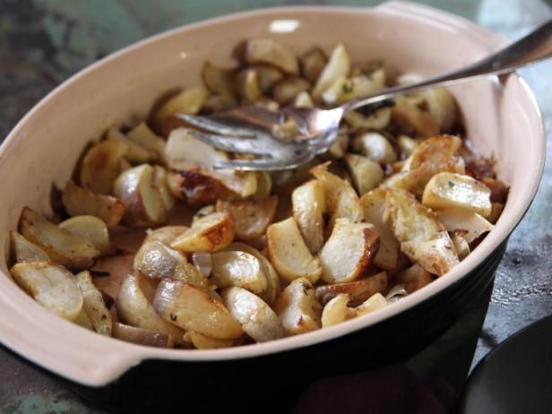 Get Roasted Turnips Recipe from Food Network Was really good. Used rosemary. LESS butter next time!