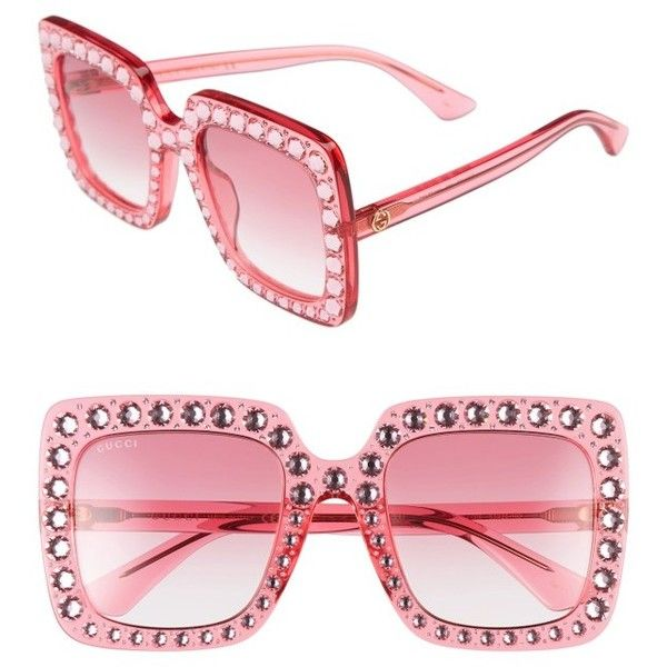 Women's Gucci 53Mm Crystal Embellished Square Sunglasses ($965) ❤ liked on Polyvore featuring accessories, eyewear, sunglasses, gucci sunglasses, square glasses, gucci, square sunglasses and gucci glasses