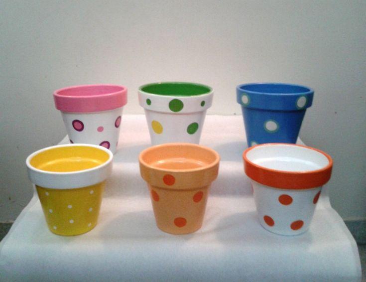 Macetas Pintadas Nº 10 - - Souvenirs- Centros De Mesa - $ 28,00 en MercadoLibre