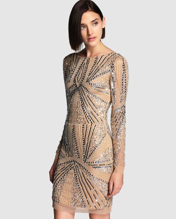 el blog de ana suero_Moda Navidades 2015_El Corte Ingles mini vestido lentejuelas nude y plateado