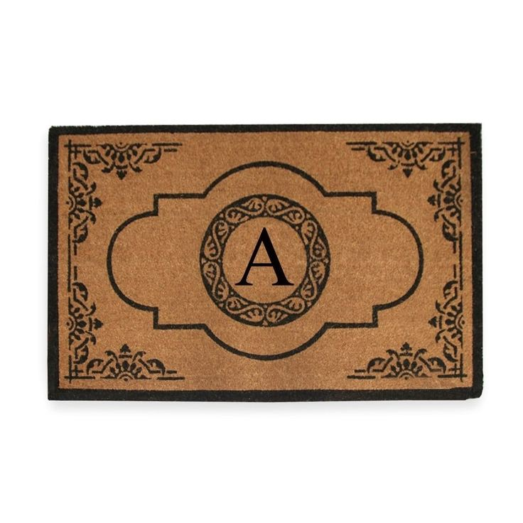 A1HC First Impression Hand Crafted Abrilina 36 in. x 72 in. Entry Coir Double Doormat Monogrammed (n)